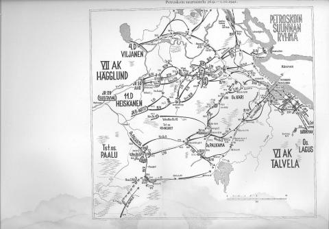 Финская Карта - схема штурма Петрозаводска